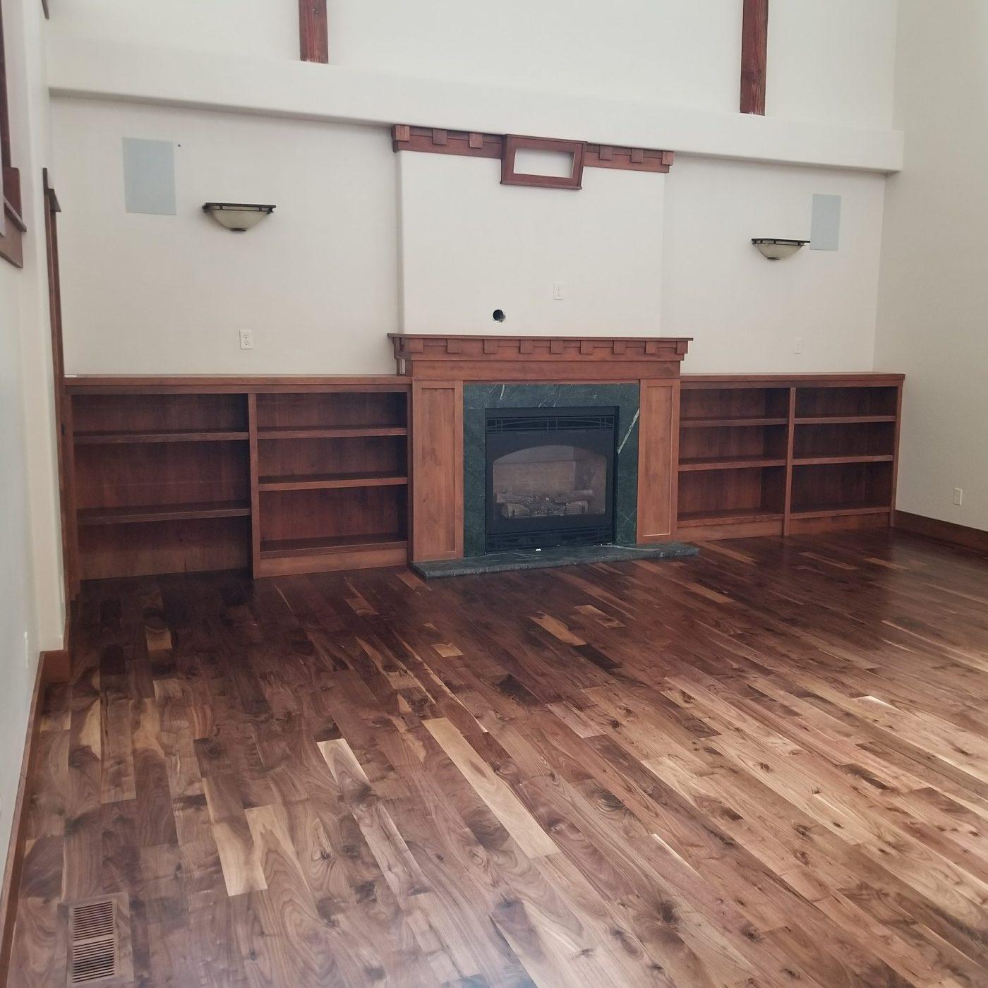 walnut wood floor in living room