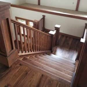 Walnut Hardwood Stairs and Landing
